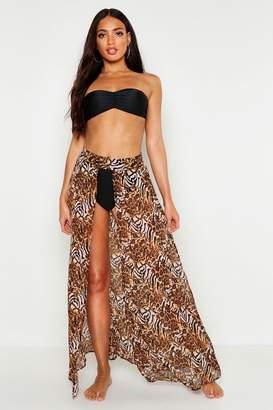 boohoo Mixed Animal Print Maxi Beach Skirt