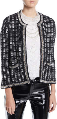 Alice + Olivia Georgia Short Embellished Tweed Sweater Jacket