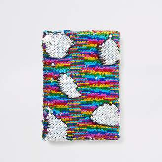 River Island Girls Silver sequin unicorn notebook