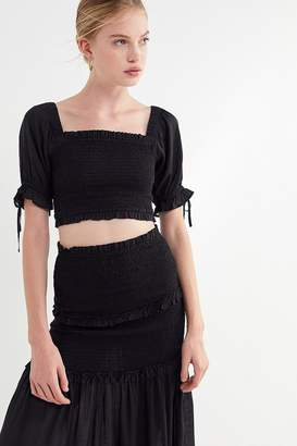 Urban Outfitters Zane Smocked Square-Neck Cropped Top