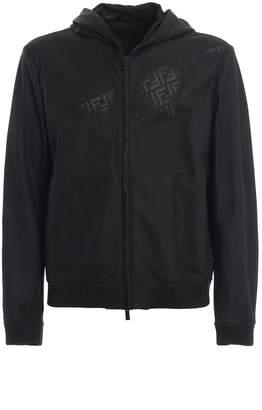 Fendi Ff Leather Hooded Jacket