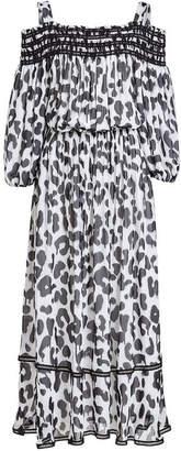 Moschino Leopard Print Off-The-Shoulder Maxi Dress