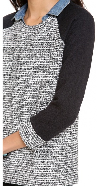 Madewell Tweed Pullover with Boiled Wool Sleeves
