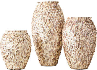 Twos Company Two's Company Shingles Set of 3 Mother of Pearl Vases