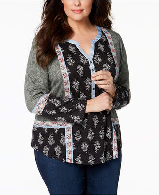 Style&Co. Style & Co Plus Size Patchwork-Print Peasant Top