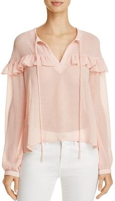 En Créme Sheer Ruffle-Trim Blouse $58 thestylecure.com