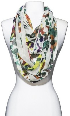 Merona Floral Stripe Infinity Scarf - White