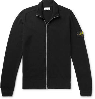 Stone Island Logo-Appliqued Wool-Blend Zip-Up Cardigan