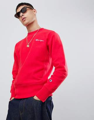 Champion reverse weave sweatshirt with back logo in red