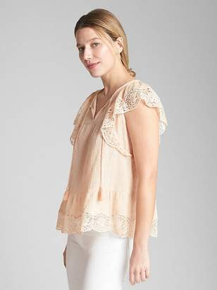 Gap Short Sleeve Flutter Crochet Smock Top