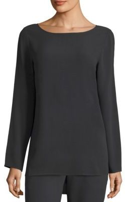 Eileen Fisher Silk Georgette Boatneck Top $278 thestylecure.com