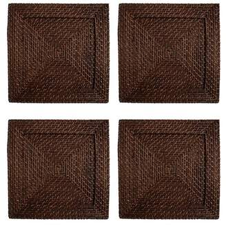 Jay Import Brown Rattan Square Placemat- Set of 4