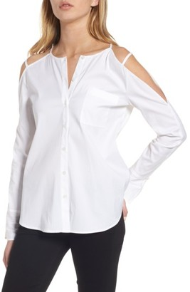 Women's Trouve Cold Shoulder Poplin Top $69 thestylecure.com