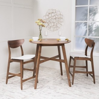 BEIGE Noble House Mitchell Counter Height Dining Set, Walnut,