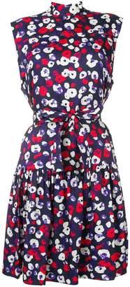 Derek Lam Belted Ruffle Hem Poppy Print Silk Jacquard Dress