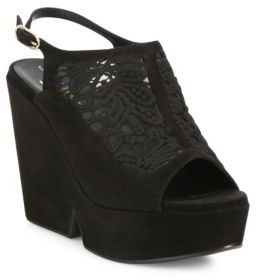 Robert Clergerie Danat Lace Platform Wedge Slingbacks $625 thestylecure.com
