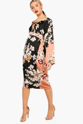 boohoo Matte Satin Kimono Sleeve Midi Dress