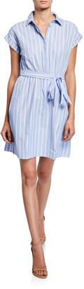Neiman Marcus Striped Button-Down Short-Sleeve Cotton Shirtdress