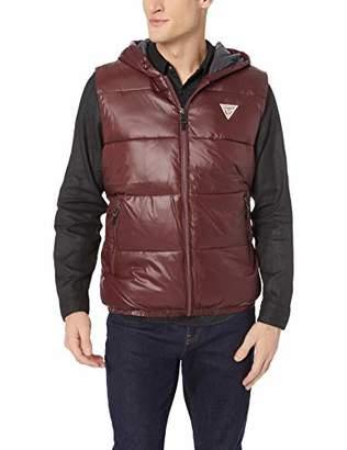 GUESS Men's Logan Hooded Puffer Vest