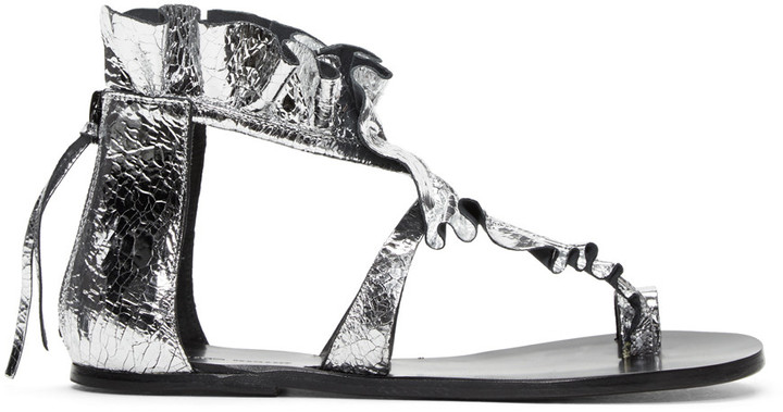 Isabel Marant Silver Audry Ruffle Sandals