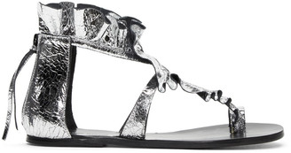 Isabel Marant Silver Audry Ruffle Sandals $565 thestylecure.com