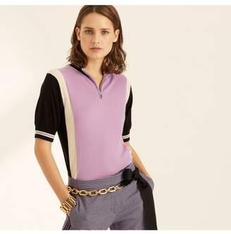Amanda Wakeley Lilac Colour Block Cashmere T-Shirt