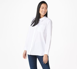 Joan Rivers Classics Collection Joan Rivers Button Front Shirt with Tulip Back Detail