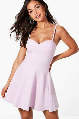 boohoo NEW Womens Strappy Detail Skater Dress in Polyester 5% Elastane
