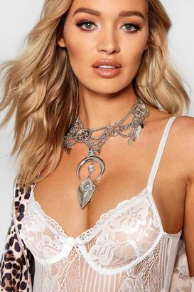 boohoo Statement Boho Horn & Coin Necklace
