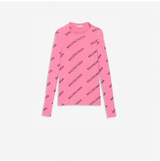 Balenciaga Allover Logo Crewneck Sweater