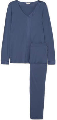 Hanro Elera Stretch Silk-paneled Cotton And Modal-blend Pajama Set - Mid denim