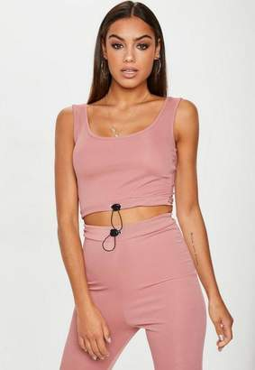 Missguided Rose Ribbed Toggle Scoop Back Crop Top