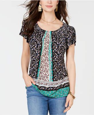 c52ceebe27e Style & Co Petite Floral-Print Pleat-Neck Top