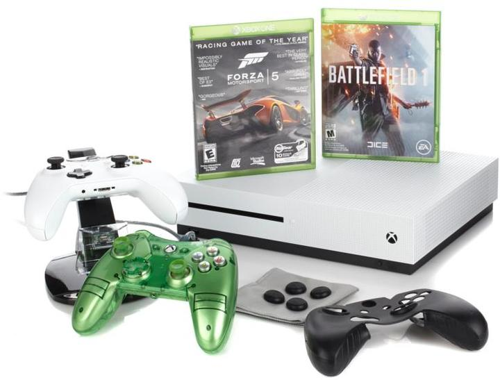 "Microsoft Xbox One S 4K Ultra HD 500GB White Console with ""Battlefield 1"" Voucher, ""Forza 5"" Game Disc, Liquid Mini Controller and Access..."