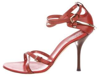 Gucci Leather Ankle-Strap Sandals Red Leather Ankle-Strap Sandals