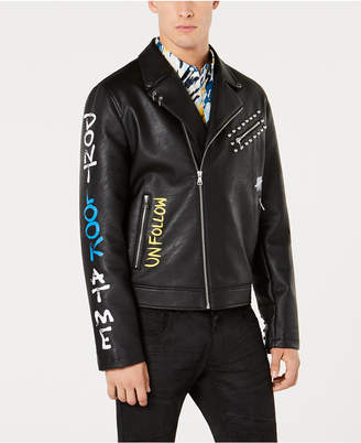 INC International Concepts I.n.c. Mens Painted Moto Jacket