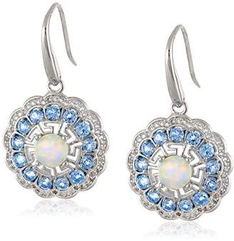 Rhodium Plated Sterling Silver Round Created Opal Swiss Topaz and Created White Sapphire Dangle Earrings