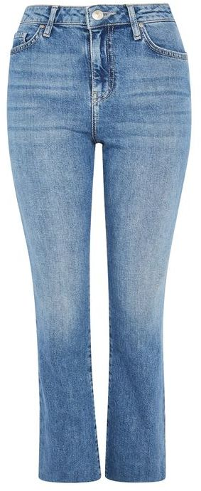 Topshop Topshop Moto light blue dree cropped kick flare jeans