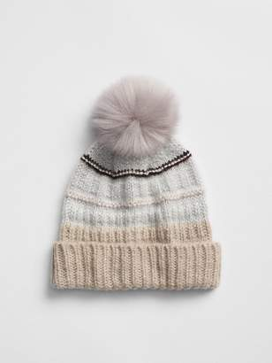 Gap Metallic Mix-Stitch Pom-Pom Beanie