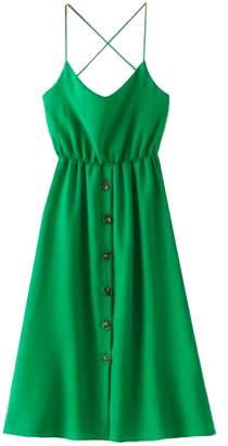 Goodnight Macaroon 'Journee' Button Down Crossed Back Strap Midi Dress