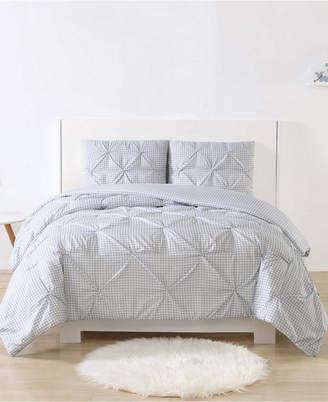 Laura Hart Kids Printed Gingham Pinch Pleat 3-Pc. Full/Queen Duvet Cover Set Bedding