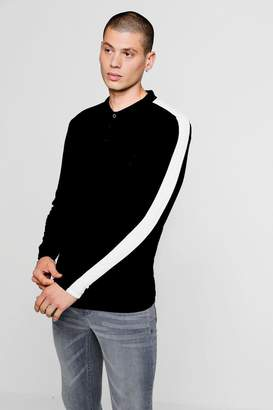 boohoo Long Sleeve Man Muscle Fit Panel Polo