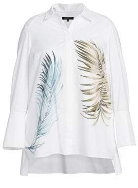 Lafayette 148 New York Lafayette 148 New York, Plus Size Porto Leaf-Print Cotton Shirt