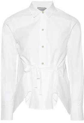 Vince Pleated Bow-detailed Cotton-poplin Shirt