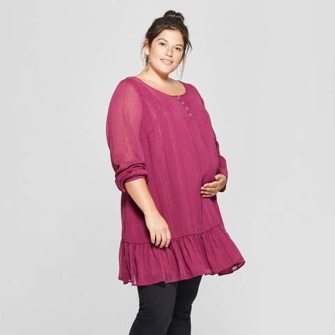 Isabel Maternity by Ingrid & Isabel Maternity Plus Size Relaxed Woven Tunic - Isabel Maternity by Ingrid & Isabel Burgundy Lurex Stripe