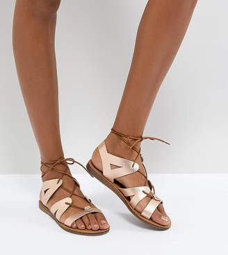 Office Saffy Rose Gold Leather Gladiator Lace Up Sandals