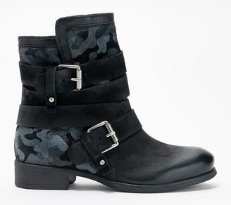 Miz Mooz Leather Buckle Ankle Boots - Savvy Camo