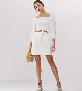 Vero Moda Tall belted denim mini skirt
