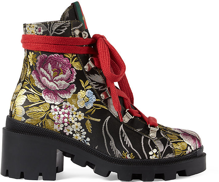 Gucci Women's Trip Jacquard Ankle Boots