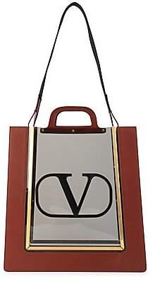 Valentino Garavani Women's Reveal Embroidered V-Logo Double Handle Translucent Tote